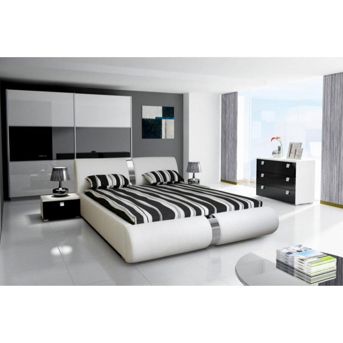 Lit Design Blanc 140cm VITARO pVWn0
