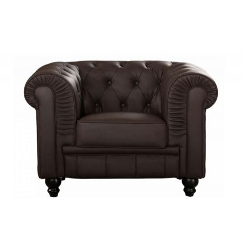 3S. x Home - Fauteuil Chesterfield simili Choco - Meuble & Déco