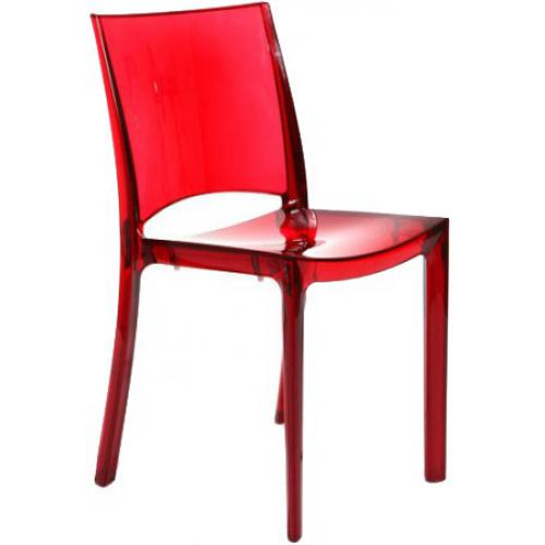 3S. x Home - Chaise Design Rouge Transparent NILO - Meuble & Déco