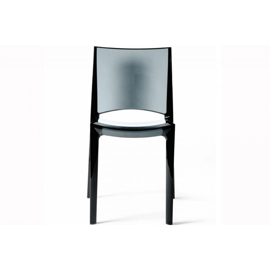 Chaise Design Gris Transparent Crystal NILO | 3 SUISSES