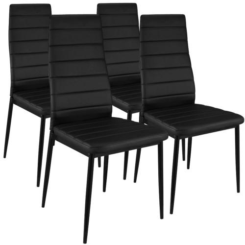 3S. x Home - Lot de 4 Chaises Design Noir Houston - Chaise, tabouret, banc
