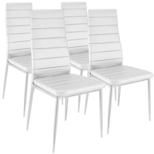 3S. x Home - Lot de 4 Chaises Design Baroque Blanc Houston - Chaise, tabouret, banc