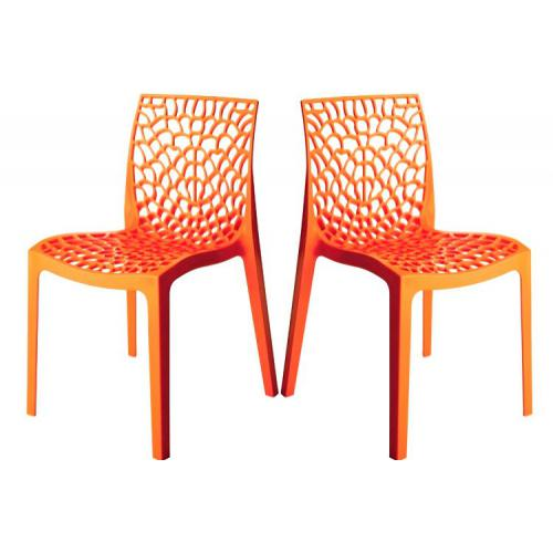 3S. x Home - Lot de 2 Chaises Design Oranges DENTELLE - Chaise, tabouret, banc