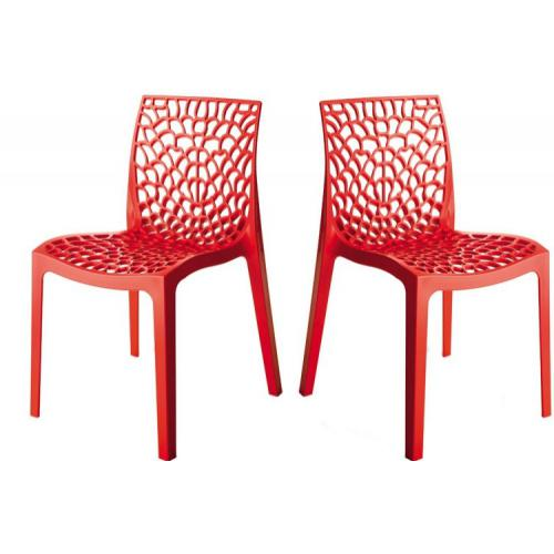 3S. x Home - Lot de 2 Chaises Design Rouges DENTELLE - Chaise, tabouret, banc