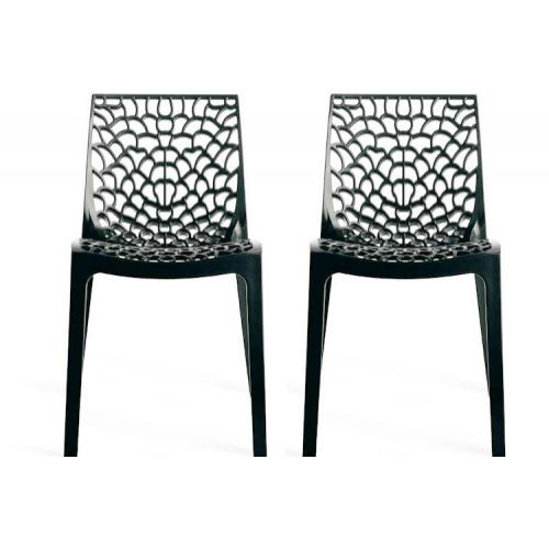 3S. x Home - Lot de 2 Chaises Design Anthracite DENTELLE - Chaise, tabouret, banc