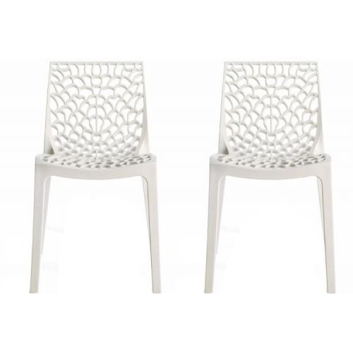 3S. x Home - Lot de 2 Chaises Design Blanches DENTELLE - Chaise, tabouret, banc