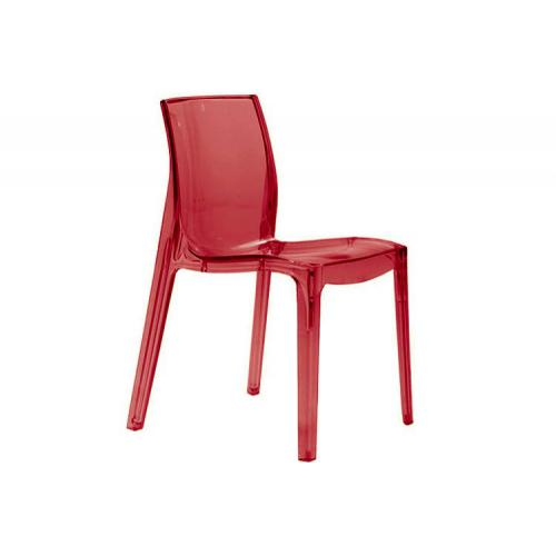 3S. x Home - Chaise Design Rouge Transparente LADY - Meuble & Déco