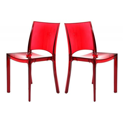 3S. x Home - Lot de 2 Chaises Rouge Transparent NILO - Meuble & Déco