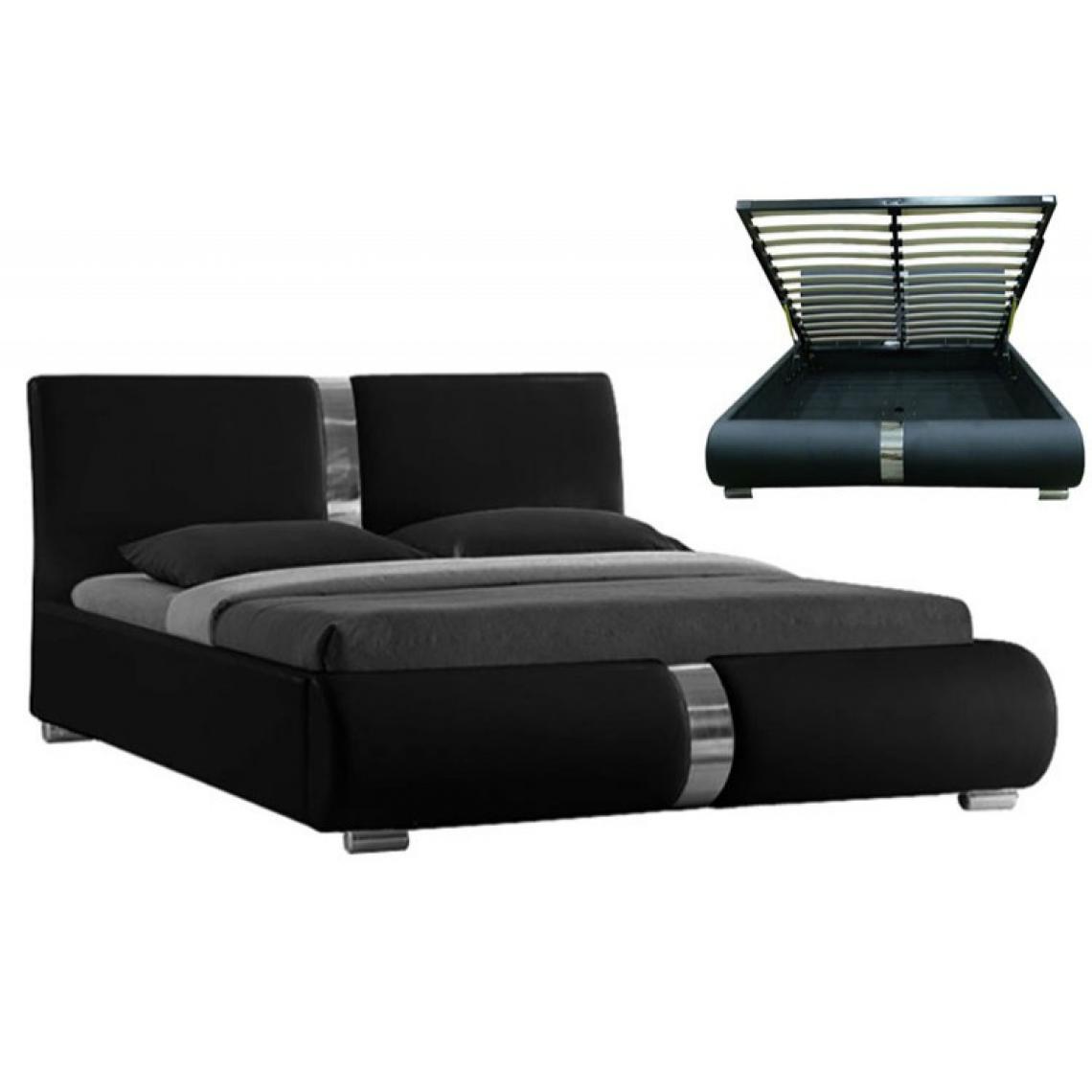 lit coffre sommier relevable noir 160 cm baleno 3 suisses. Black Bedroom Furniture Sets. Home Design Ideas