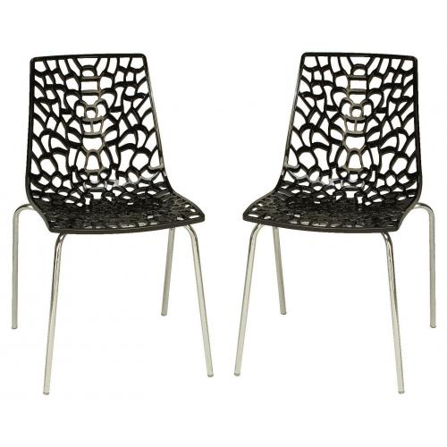 3S. x Home - Lot de 2 Chaises Anthracites TRAVIATA - Promo La salle à manger
