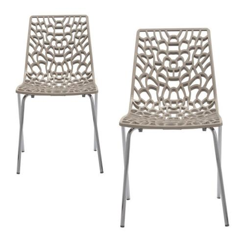 3S. x Home - Lot de 2 Chaises Taupe TRAVIATA - Meuble & Déco