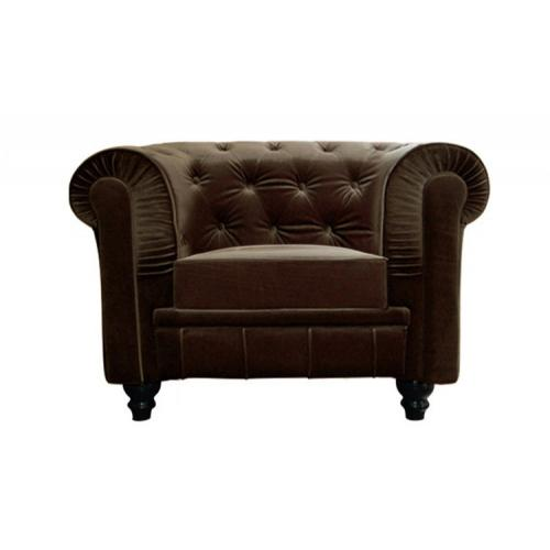 3S. x Home - Fauteuil Chesterfield velours marron Hugo - Meuble & Déco
