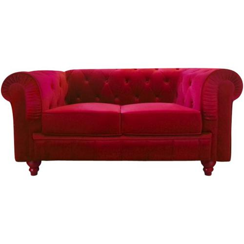 3S. x Home - Canapé Chesterfield Velours Capitonné Rouge 2 Places - Meuble & Déco