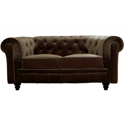 3S. x Home - Canapé chesterfield velours capitonné choco 2 places - Meuble & Déco
