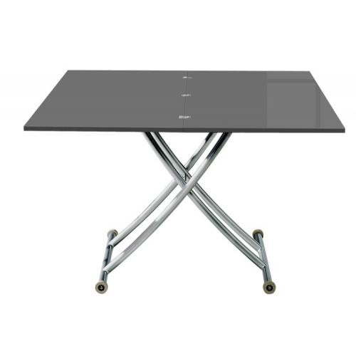 3S. x Home - Table Basse Relevable à Rallonge Laqué Gris Ella - Table basse