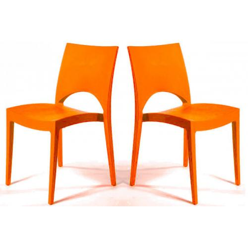 3S. x Home - Lot de 2 Chaises Design Oranges VENISE - Chaise, tabouret, banc