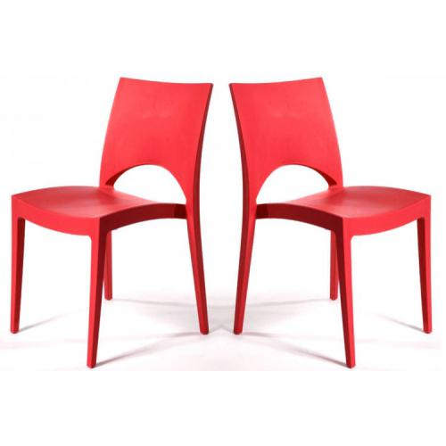3S. x Home - Lot de 2 Chaises Design Rouges VENISE - Meuble & Déco