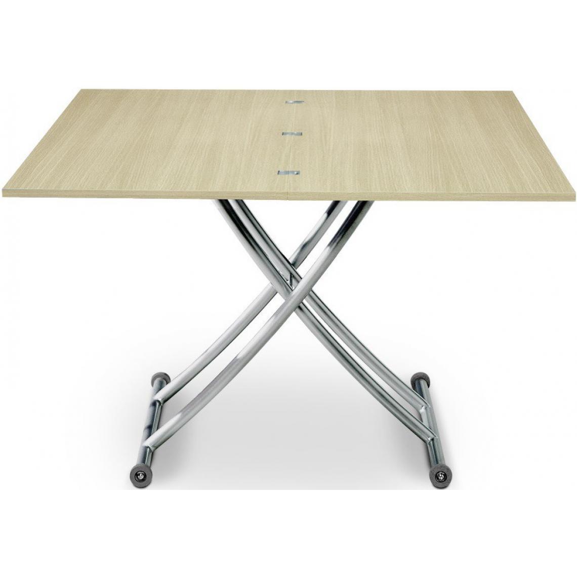 Table En Bois Chene Clair table basse relevable extensible bois chêne clair ella 100x60x76 plus de  détails