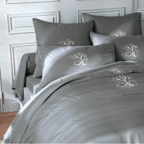 Bouchara Collection - Housse de couette coton brodée monogrammes MA Bouchara Collection - Gris - Bouchara Collection