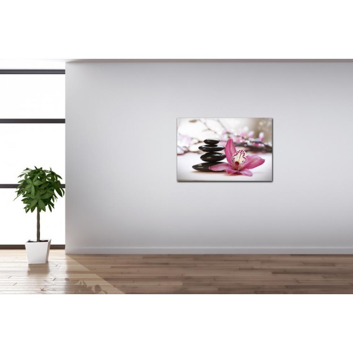 Faire Un Tableau Avec Des Galets tableau zen galets en pyramide avec fleur rose l.80 x h.55 cm alia 80x55  plus de détails