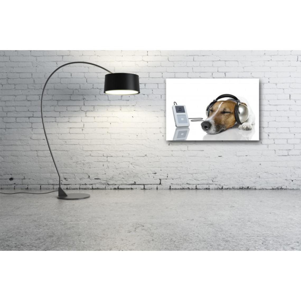 Tableau Animaux Chien avec Ipod L.80 x H.55 cm WcEDS