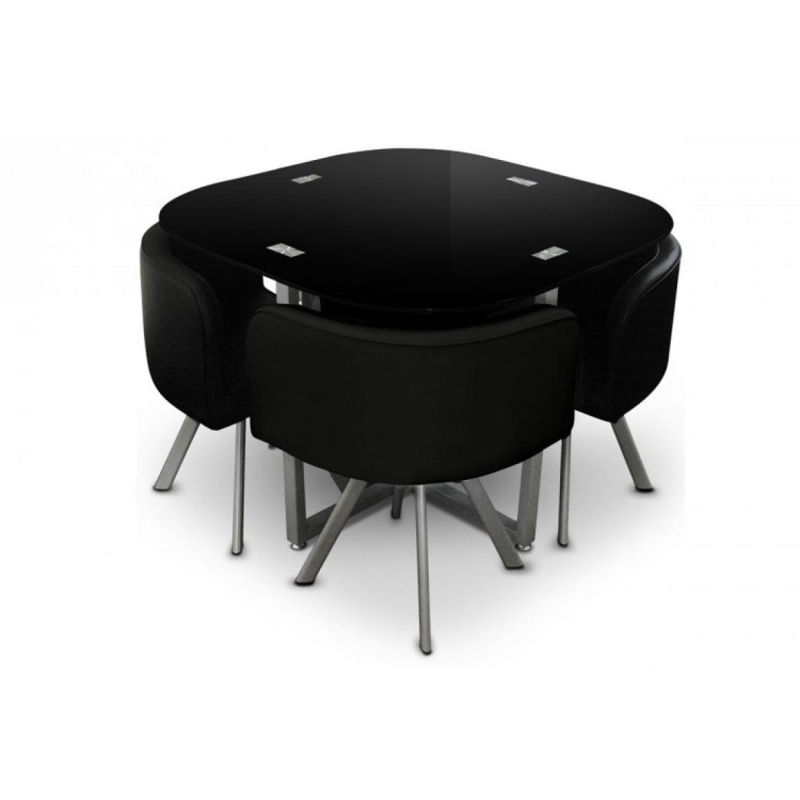 Table repas noire avec 4 chaises ELVIS