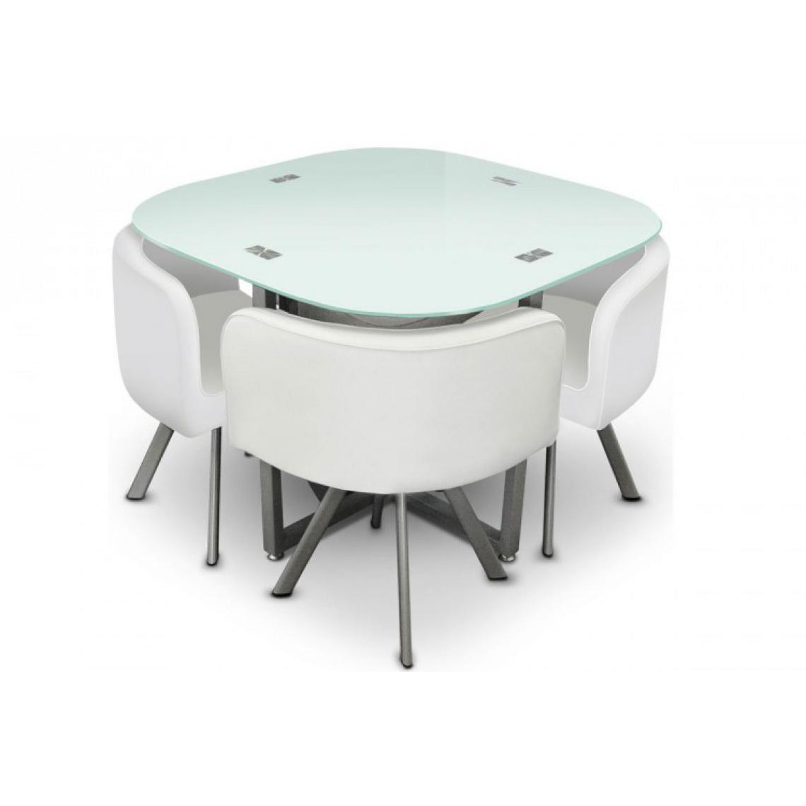 Table Avec Suisses Blanche 4 Elvis3 Chaises Repas E9I2DH