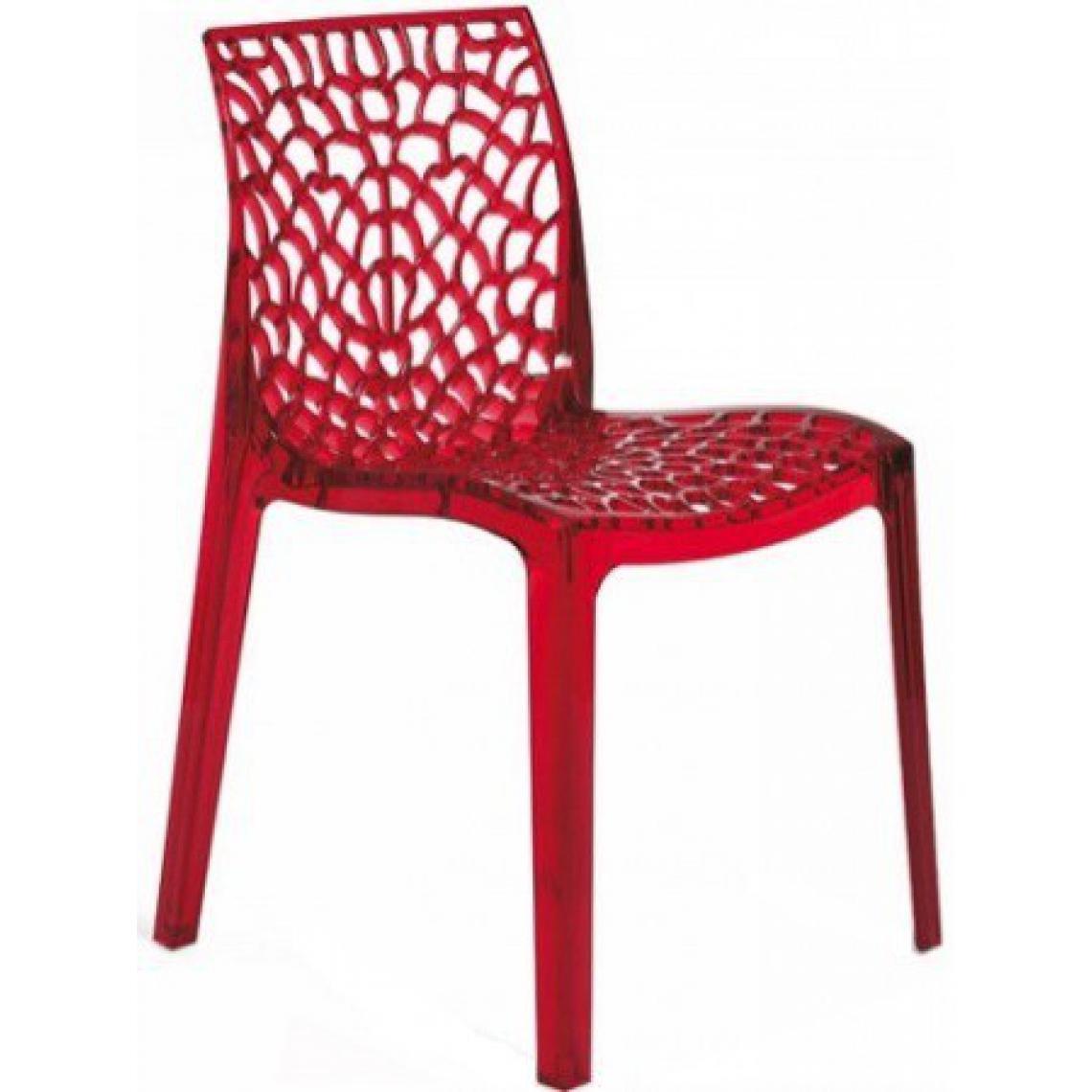 chaise design transparente rouge fum e gruyer 3 suisses. Black Bedroom Furniture Sets. Home Design Ideas