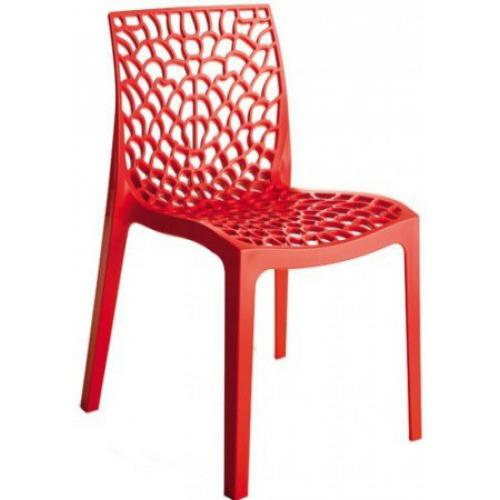 3S. x Home - Chaise Design Rouge DENTELLE - Chaise de jardin