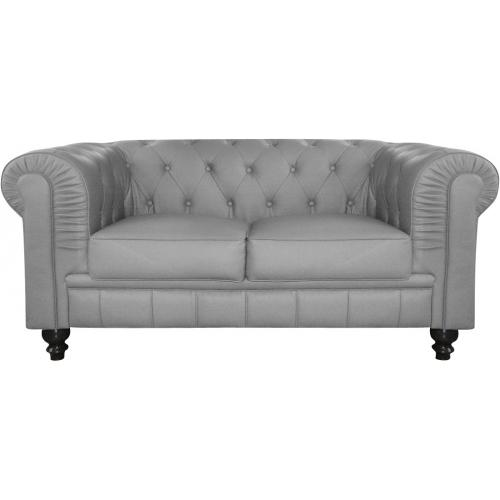 3S. x Home - Canapé 2 places Gentleman Chesterfield Gris - Meuble & Déco