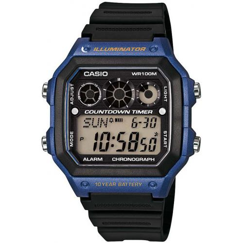 Montre Casio Collection AE-1300WH-2AVEF - Montre Illuminator Noire Bleue Casio Montres
