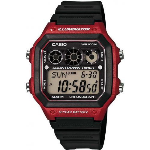 Montre Casio Collection AE-1300WH-4AVEF - Montre Illuminator Noire Rouge Casio Montres