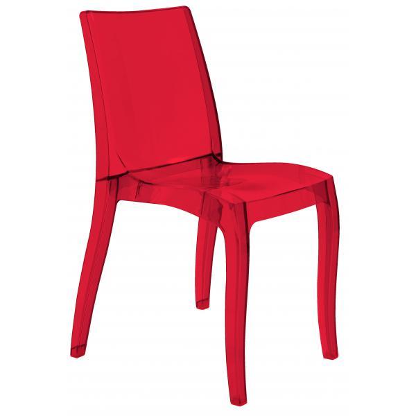 Chaise design transparente rouge athenes 3suisses - Chaise transparente rouge ...