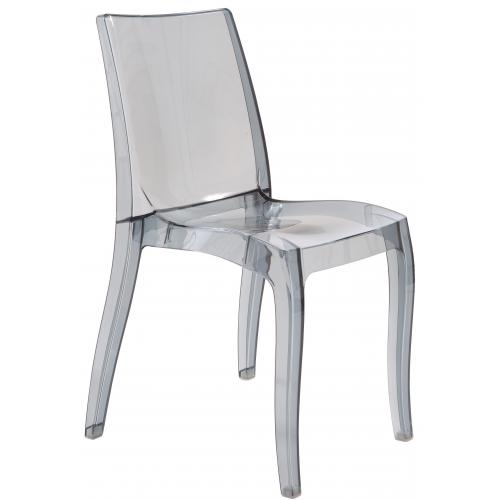 3S. x Home - Chaise Design Transparente Grise CRETE - Chaise