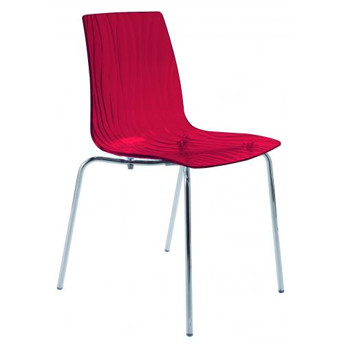 3S. x Home - Chaise Design Transparente Rouge OLYMPIE - Chaise