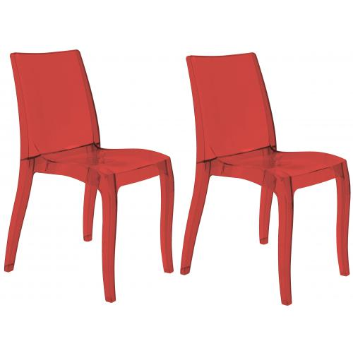 3S. x Home - Lot de 2 Chaises Design Transparentes Rouges ATHENES - GRANDSOLEIL