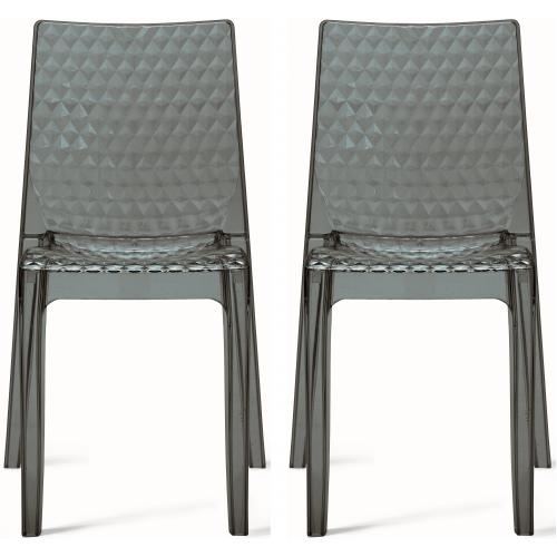 3S. x Home - Lot de 2 Chaises Design Transparentes Grises DELPHES - Meuble & Déco