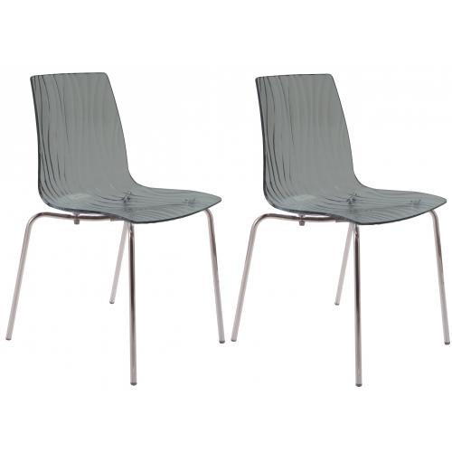 3S. x Home - Lot de 2 Chaises Design Transparentes Grises OLYMPIE - GRANDSOLEIL
