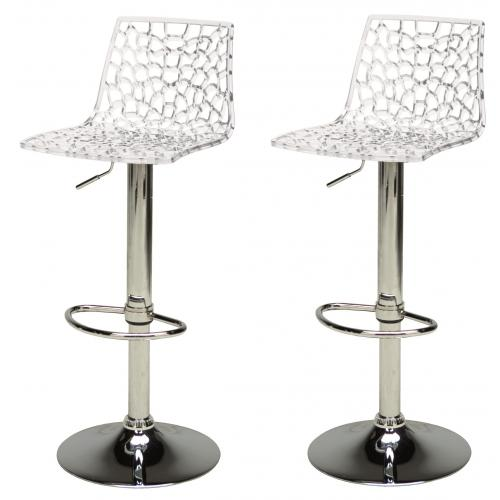 3S. x Home - Lot de 2 Tabourets de Bar Design Transparents SPARTE - Chaise, tabouret, banc