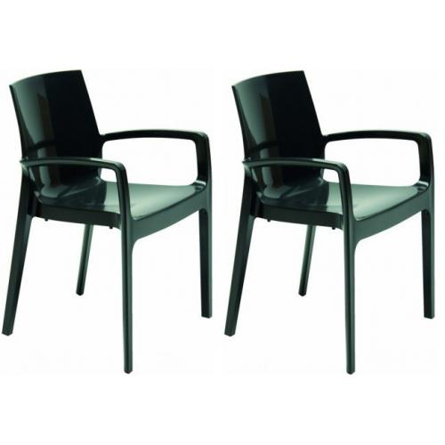 3S. x Home - Lot de 2 Chaises Design Noires GENES - GRANDSOLEIL