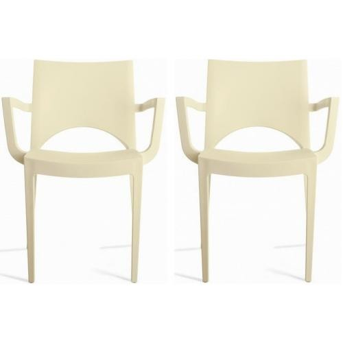 3S. x Home - Lot de 2 Chaises Design Ivoires PALERMO - GRANDSOLEIL