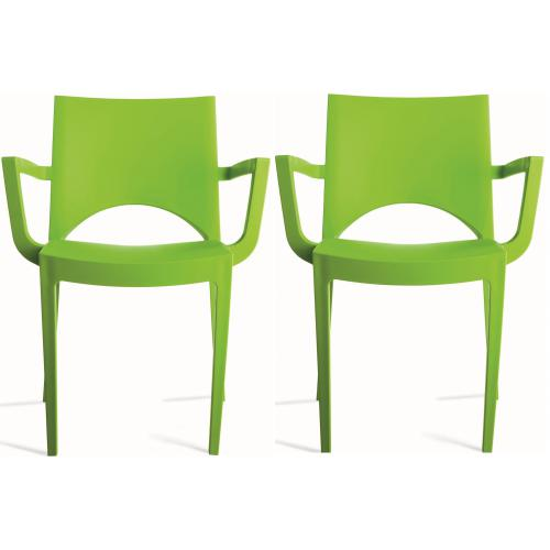 3S. x Home - Lot de 2 Chaises Design Vertes PALERMO - Promo Meuble & Déco