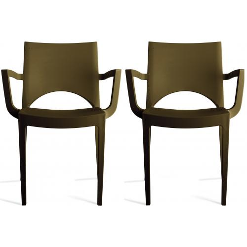 3S. x Home - Lot de 2 Chaises Design Marron PALERMO - Promo Meuble & Déco