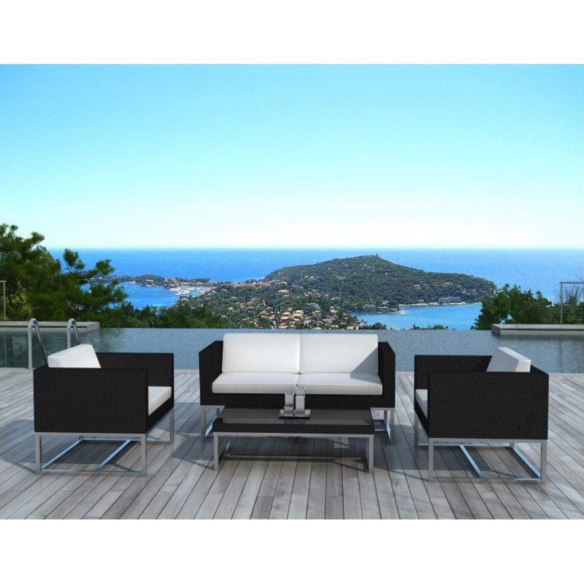 Salon De Jardin Design Noir Et Blanc 4 Places Newton 158x79x70