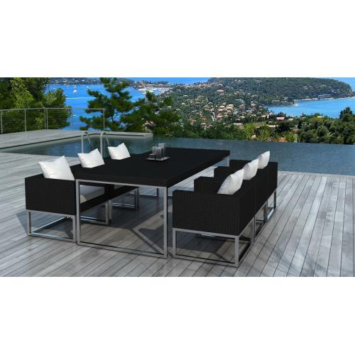 3S. x Home - Table design outdoor + 6 fauteuils noir et blanc VELUX - Ensemble table, chaise