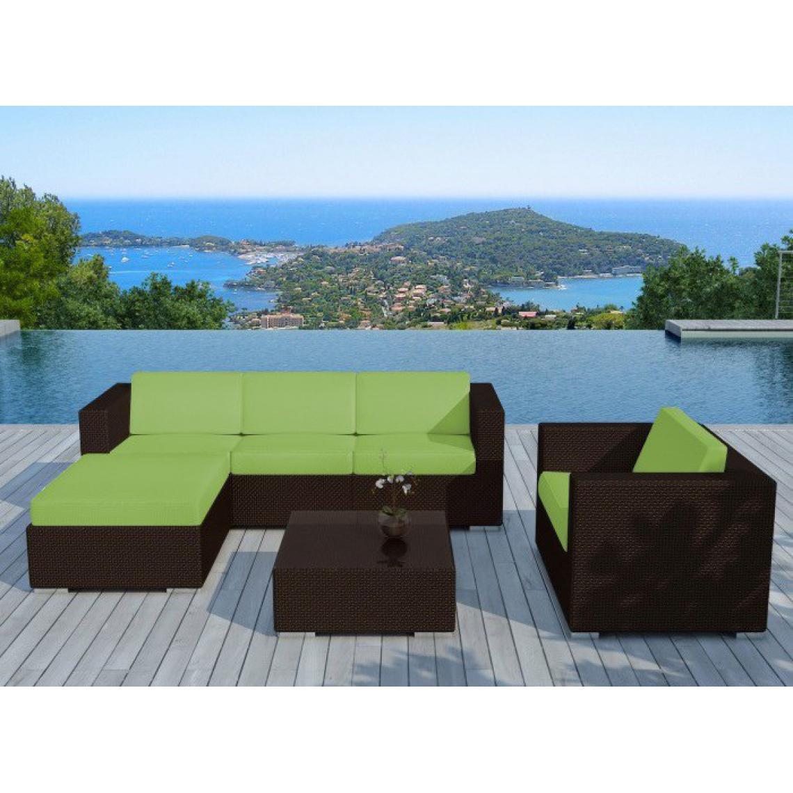 Salon de jardin en résine tressée chocolat et vert LAGON 203x72x63