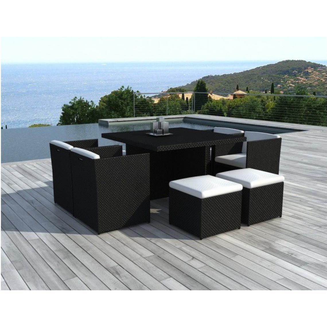 Salon de jardin en résine noir et blanc 8 places NICE 115x115x74