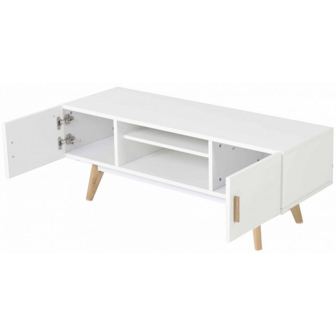 Meuble TV blanc plaqué bois Téodora