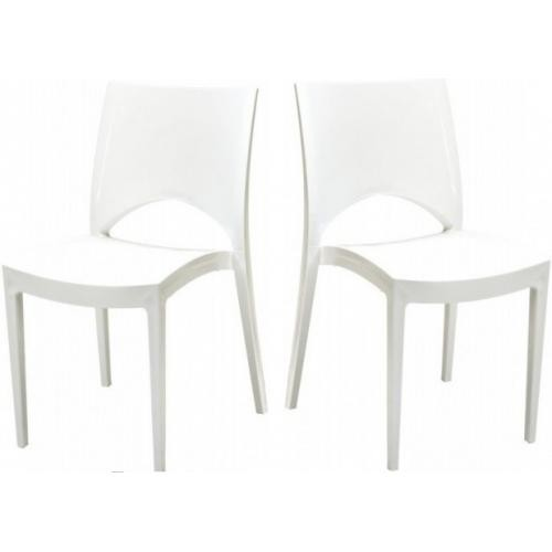 3S. x Home - Lot de 2 Chaises Design Blanches VENISE - Chaise, tabouret, banc