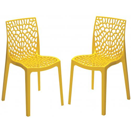3S. x Home - Lot de 2 Chaises Design Jaune Perle DENTELLE - Chaise, tabouret, banc